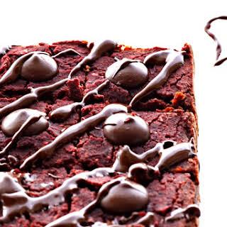 Healthy Vegan Red Velvet Brownies with Cream Cheese.