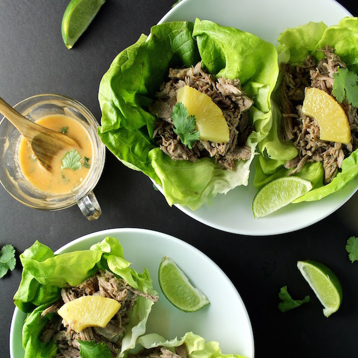 Slow Cooker Pineapple Pork Carnitas Lettuce Wrap Tacos| Coconut Milk ...