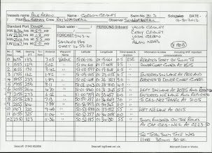 Photo: Paul's Log of the swim including GPS coordinates.