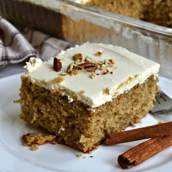 This Spice Cake Is A Moist Luscious Treat Filled With Fabulous Fall Spices And Topped With A Super Simple Four Ingredient Brown Sugar Cream Cheese Frosting.  The Frosting And The Cake Can Be Made Up To Two Days In Advance But Should Be Stored In The Refri