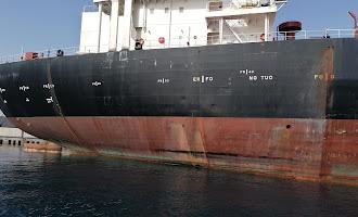 El buque petrolero Aldan retenido en el Puerto de Almería