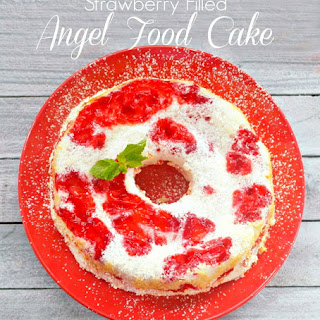Strawberry Filled Angel Food Cake.