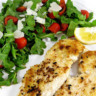 Skinny Turkey Milanese with Arugula and Tomato Salad