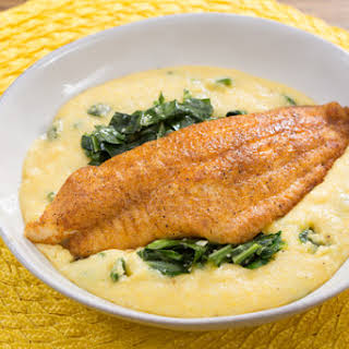Spiced Catfish & Poblano-Cheddar Grits with Stewed Collard Greens.
