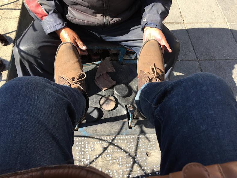 ラパスで靴磨きした後の状態