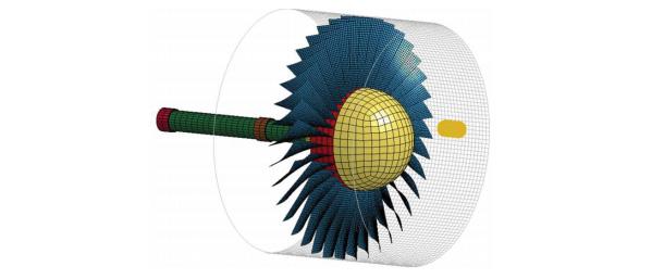 ANSYS - Модель турбовентиляторного двигателя для исследования столкновения с птицей