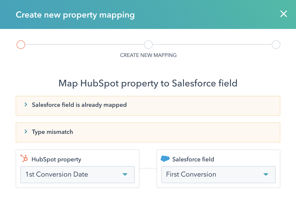Creating a new property mapping in HubSpot for Salesforce.