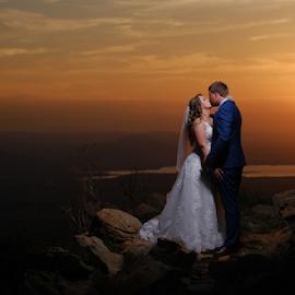 Cussonia sunset by Lood Goosen (LWG Photo) - Wedding Bride & Groom ( bride, wedding dress, groom, wedding photographer, wedding photography, bride and groom, weddings, sunset, wedding day, wedding photographers, wedding, brides )