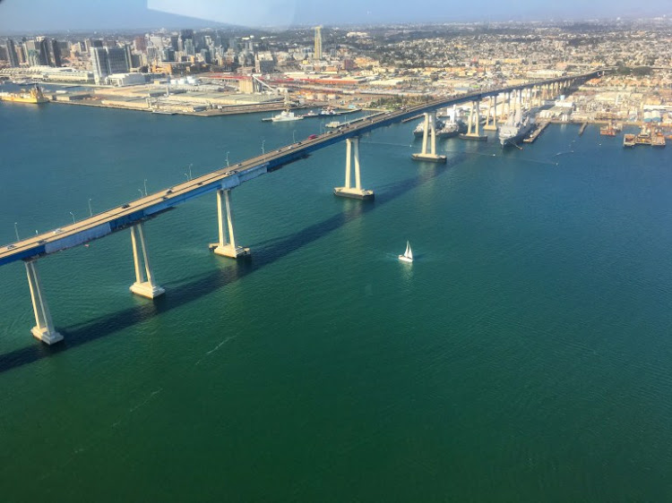 The bridge from downtown San Diego to Coronado island.