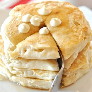 White Chocolate Macadamia Nut Pancakes.