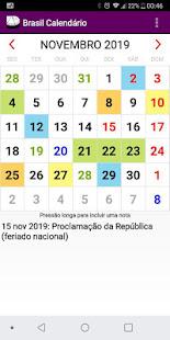 Brasil Calendário 2019 com todos os Feriados