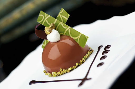 chocolate-pistachio-dome-with-almond-and-pistachio-nougatine.jpg - Chocolate pistachio dome with almond and pistachio nougatine, part of Chocolate Journeys on Princess Cruises.