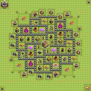 Town Hall 8 Trophy Base Layout - náhled