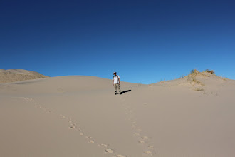 Photo: Me in the dunes. Pristine sand (all footsteps are mine)