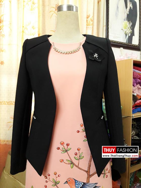 Áo vest nữ không cổ đính hoa thủ công V367 thời trang thủy