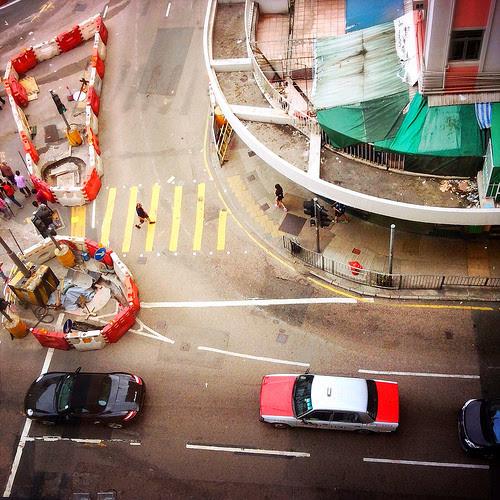 Hong Kong, Street, Crosswalk, corner,  香港, 街, 斑馬線
