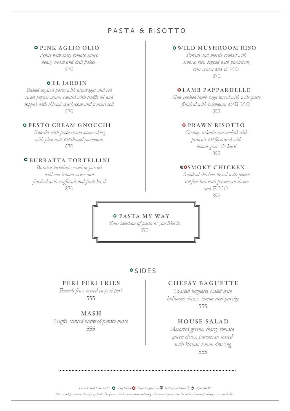 Long & Short - InterContinental menu 7