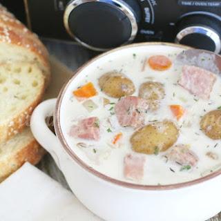 Crock Pot Potato & Ham Soup.