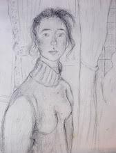 """Photo: """"Visite à trianon"""" Florence (mine de plomb sur papier a peindre) 2003"""