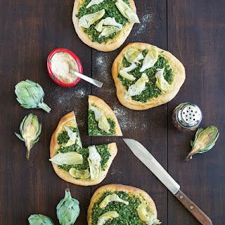 Artichoke Pizza with Spinach Pesto.