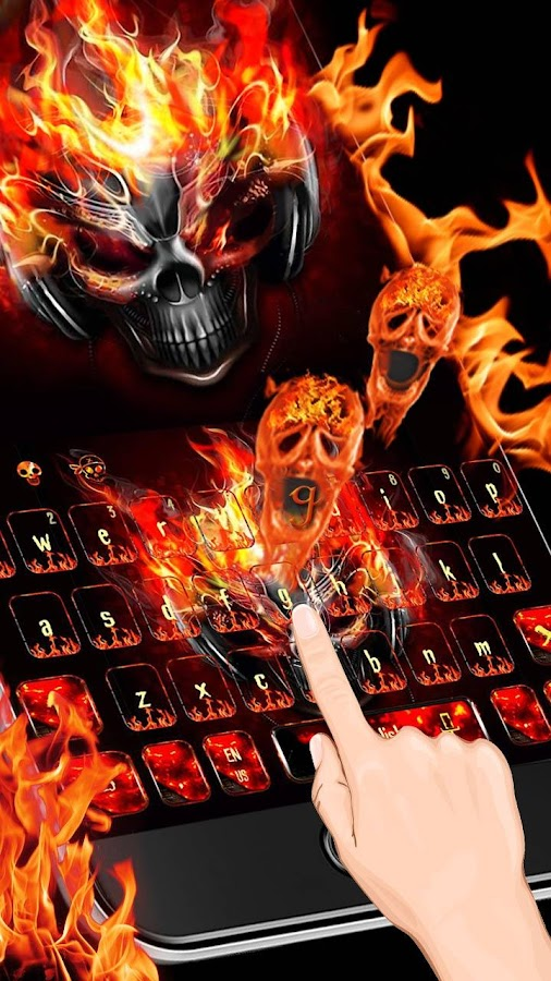 3D Fire Burning Skull Keyboard Theme Mod Apk Unlimited Android