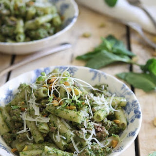 Brown Rice Penne With Lamb And Mint Pesto.