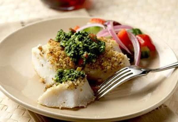 Crispy Alaska Cod With Greek Pesto Recipe