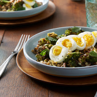 Za'atar-Roasted Broccoli Salad with Fregola Sarda, Pecorino Cheese & Tahini Dressing.