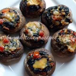 Spinach N Walnut Stuffed Mushrooms