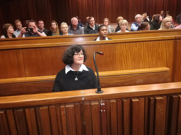 High school teacher Marinda Steyn in the dock of the High Court in Johannesburg on May 16, 2018, where was sentenced to a lengthy jail term for her involvement in a killing spree on Gauteng's West Rand.