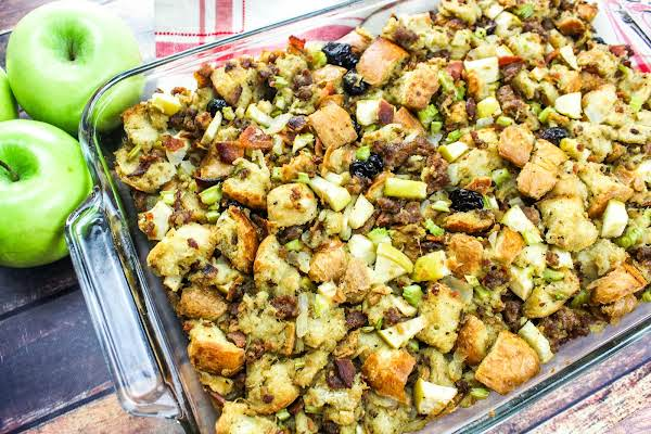 Sausage Bacon Apple Stuffing Ready For The Holiday Table.