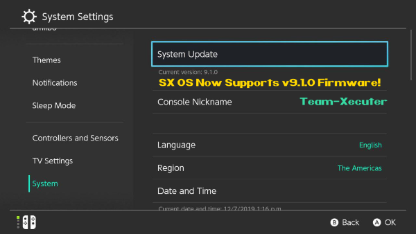 SX OS v2.9.3. Beta updated to support FW 9.1.0 and game titles that use newer encryption