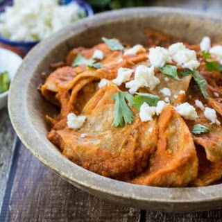 Mexican Chilaquiles Rojos.