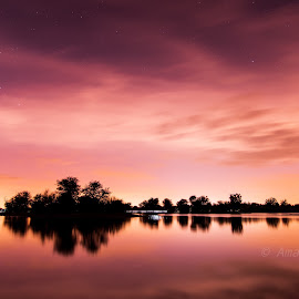Cloudy night by Al Mamun Abdullah - Landscapes Waterscapes ( reflection, waterscape, night, lakes, clouds, long exposure, water, trees, night photography )