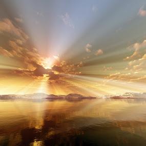Sun Rays by Markus Gann - Landscapes Sunsets & Sunrises ( skyline, bright, yellow, beach, sky, nature, sunshine, light, orange, twilight, horizon, sunlight, dusk, rays, magic, dawn, wave, foam, golden, calm, shore, ray, ocean, beauty, seaside, landscape, coastline, coast, sun, fantasy, sunny, dramatic, cloudy, evening, abstract, water, clouds, heaven, waves, sea, morning, red, blue, color, sunset, outdoor, background, cloud, sunrise, river,  )