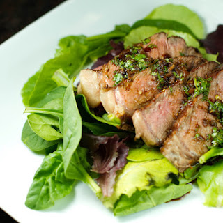 Grilled Asian Steak with Greens and Ginger Dressing
