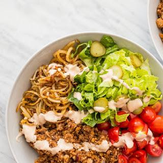 Vegetarian Hamburger Bowls with Spiralized Potatoes.