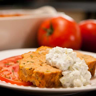 Slow Cooker Salmon Loaf with Cucumber Dill Sauce.