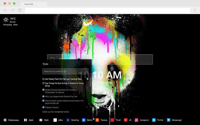 Cute Panda New Tab Page HD Pop Animals Theme