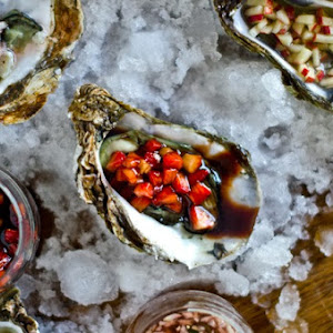 Oysters with Apple, Shallot, and Strawberry Sauce