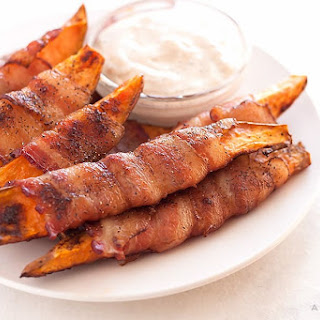 Baked Bacon Wrapped Sweet Potato Fries.