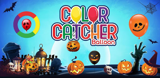 A colorful Halloween game with spooky balloons & geometric shapes for kids & all