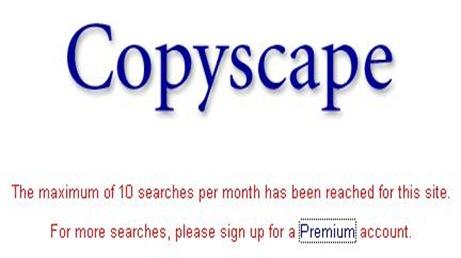 Copyscape 10 Search per month limitation