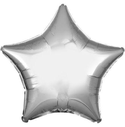 Folieballong, stjärna metallic silver 48 cm