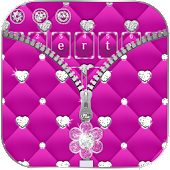 Pink Sparkle Zipper Girly Diamond Keyboard