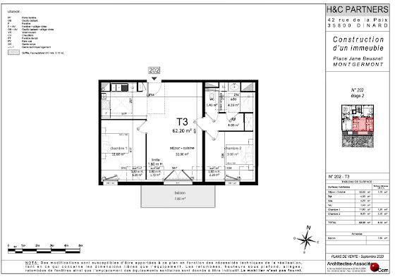 Vente appartement 3 pièces 65,83 m2
