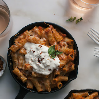 Veggie Baked Ziti (For Two) with Burrata.