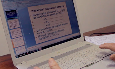 Photo: Professor Jose Pfaffenzeller directs an online course to other Lutherans in Spanish-speaking countries.