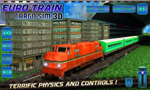 Euro Train Driving Cargo 3D