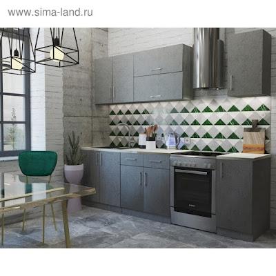 Кухонный гарнитур «Лофт», 2000 × 600 мм, цвет штукатурка серая / корпус серый